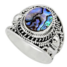 4.71cts solitaire natural green abalone paua seashell silver ring size 8 r51981