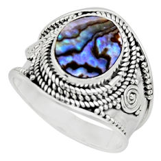 4.21cts solitaire natural green abalone paua seashell silver ring size 8 r51992