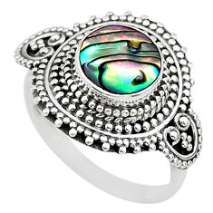 2.24cts solitaire natural green abalone paua seashell silver ring size 8 t20181