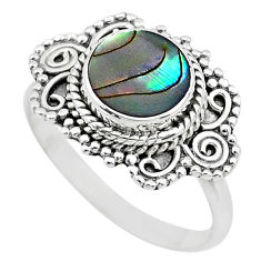 2.41cts solitaire natural green abalone paua seashell silver ring size 8 t20209