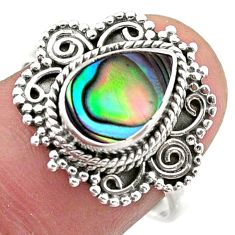 2.21cts solitaire natural green abalone paua seashell silver ring size 8 t46161