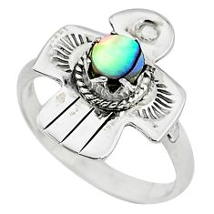 0.60cts solitaire natural green abalone paua seashell silver ring size 8 t6330