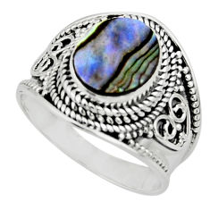 4.38cts solitaire natural green abalone paua seashell silver ring size 9 r51962