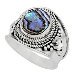 4.52cts solitaire natural green abalone paua seashell silver ring size 9 r51970