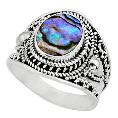4.38cts solitaire natural green abalone paua seashell silver ring size 9 r51987