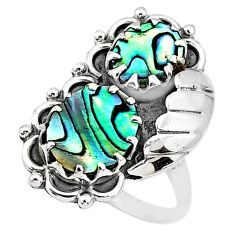 6.78cts solitaire natural green abalone paua seashell silver ring size 9 t6430