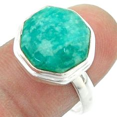 6.32cts solitaire natural green amazonite 925 silver hexagon ring size 8 t55949