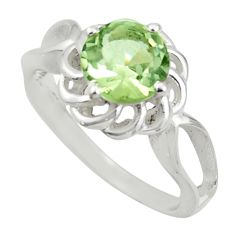 3.32cts solitaire natural green amethyst 925 silver ring size 8.5 r41907