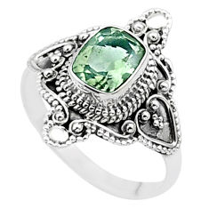 2.11cts solitaire natural green amethyst 925 silver ring size 9.5 t27045