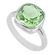 5.21cts solitaire natural green amethyst 925 sterling silver ring size 7 t36400