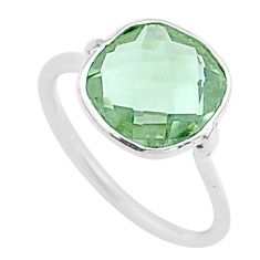 4.47cts solitaire natural green amethyst 925 sterling silver ring size 7 t50711
