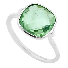 4.93cts solitaire natural green amethyst 925 sterling silver ring size 7 t50714