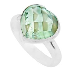 6.02cts heart natural green amethyst 925 sterling silver ring size 9 t21700