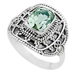 2.10cts solitaire natural green amethyst cushion 925 silver ring size 7.5 t27147