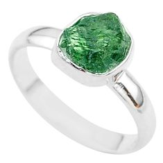 4.04cts solitaire natural green apatite raw 925 silver ring size 9 t33547