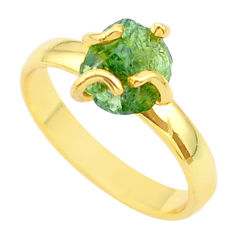 4.28cts solitaire natural green apatite rough silver gold ring size 7.5 t36929