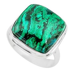 10.70cts solitaire natural green azurite malachite 925 silver ring size 6 t21428