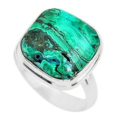 9.90cts solitaire natural green azurite malachite 925 silver ring size 6 t21430