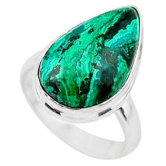 11.23cts solitaire natural green azurite malachite 925 silver ring size 7 t21424