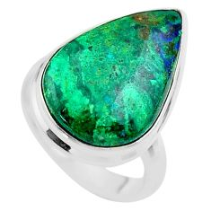 14.72cts solitaire natural green azurite malachite 925 silver ring size 7 t45506