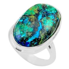 14.40cts solitaire natural green azurite malachite 925 silver ring size 7 t45538