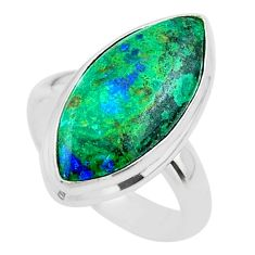 13.15cts solitaire natural green azurite malachite 925 silver ring size 7 t45541
