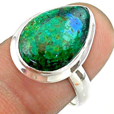 8.80cts solitaire natural green azurite malachite 925 silver ring size 7 t55522