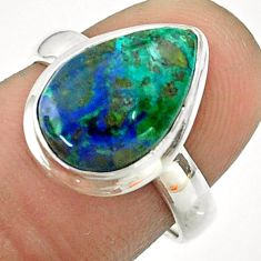5.23cts solitaire natural green azurite malachite 925 silver ring size 7 t55549