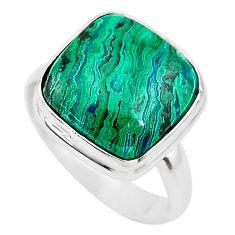 11.23cts solitaire natural green azurite malachite 925 silver ring size 8 t21435