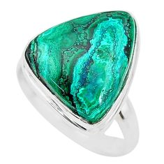 11.66cts solitaire natural green azurite malachite 925 silver ring size 8 t21438