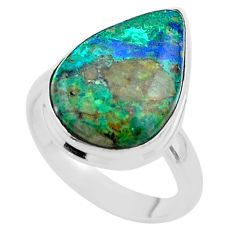 11.21cts solitaire natural green azurite malachite 925 silver ring size 8 t45502