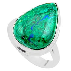 14.06cts solitaire natural green azurite malachite 925 silver ring size 8 t45515