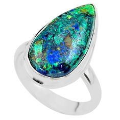 13.77cts solitaire natural green azurite malachite 925 silver ring size 8 t45535