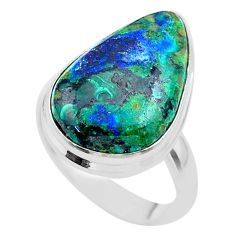 13.27cts solitaire natural green azurite malachite 925 silver ring size 8 t45540