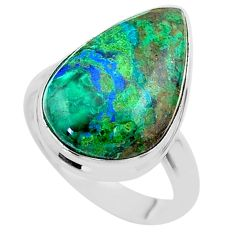 14.68cts solitaire natural green azurite malachite 925 silver ring size 8 t45542