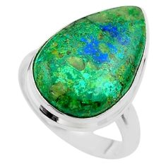 14.68cts solitaire natural green azurite malachite 925 silver ring size 8 t45545
