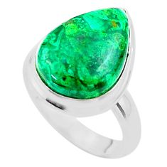 12.85cts solitaire natural green azurite malachite 925 silver ring size 8 t45547
