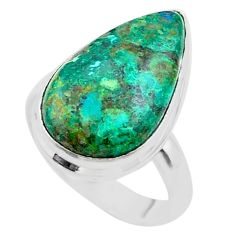 14.57cts solitaire natural green azurite malachite 925 silver ring size 8 t45549