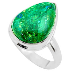 13.18cts solitaire natural green azurite malachite 925 silver ring size 8 t45550