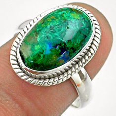 6.10cts solitaire natural green azurite malachite 925 silver ring size 8 t55521