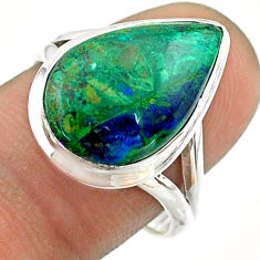 9.56cts solitaire natural green azurite malachite 925 silver ring size 8 t55534