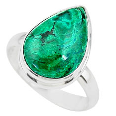 10.41cts solitaire natural green azurite malachite 925 silver ring size 9 t21422