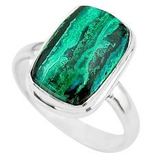 8.42cts solitaire natural green azurite malachite 925 silver ring size 9 t21434