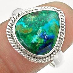 6.85cts solitaire natural green azurite malachite 925 silver ring size 9 t55543