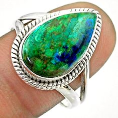 7.30cts solitaire natural green azurite malachite 925 silver ring size 9 t55557