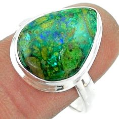 10.29cts solitaire natural green azurite malachite 925 silver ring size 9 t55575