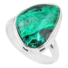 12.03cts solitaire natural green azurite malachite silver ring size 8.5 t21437