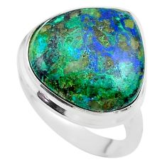 15.71cts solitaire natural green azurite malachite silver ring size 8.5 t45516