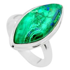 13.27cts solitaire natural green azurite malachite silver ring size 7.5 t45522