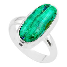 9.30cts solitaire natural green azurite malachite silver ring size 6.5 t45527